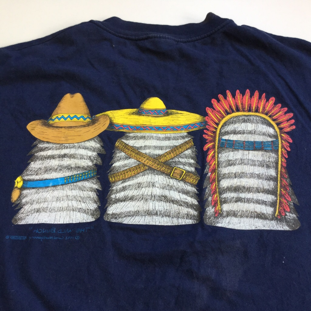 San Antonio ネコTシャツ 半袖Tシャツ アメリカ直輸入 送料無料 メンズ XL/紺・ネイビー USA インディアン カウボーイ メキシカン アメカジ アメリカ直輸入 古着卸 業販 THE WILD BUNCH ユニセックス 大きい ビッグ オーバー
