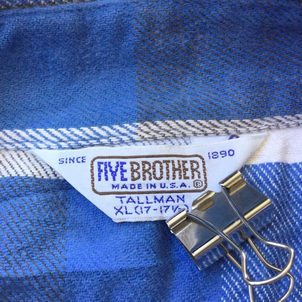 FIVE BROTHER ファイヴ ブラザー 長袖シャツ ヘビーネルシャツ 送料無料 メンズ XL/白x青xグレー ブロックチェック コットンシャツ ビンテージ オールド アメリカ輸入 MADE IN USA アメカジ アウトドア ワーク 古着卸 業販 大きい ビッグ オーバー