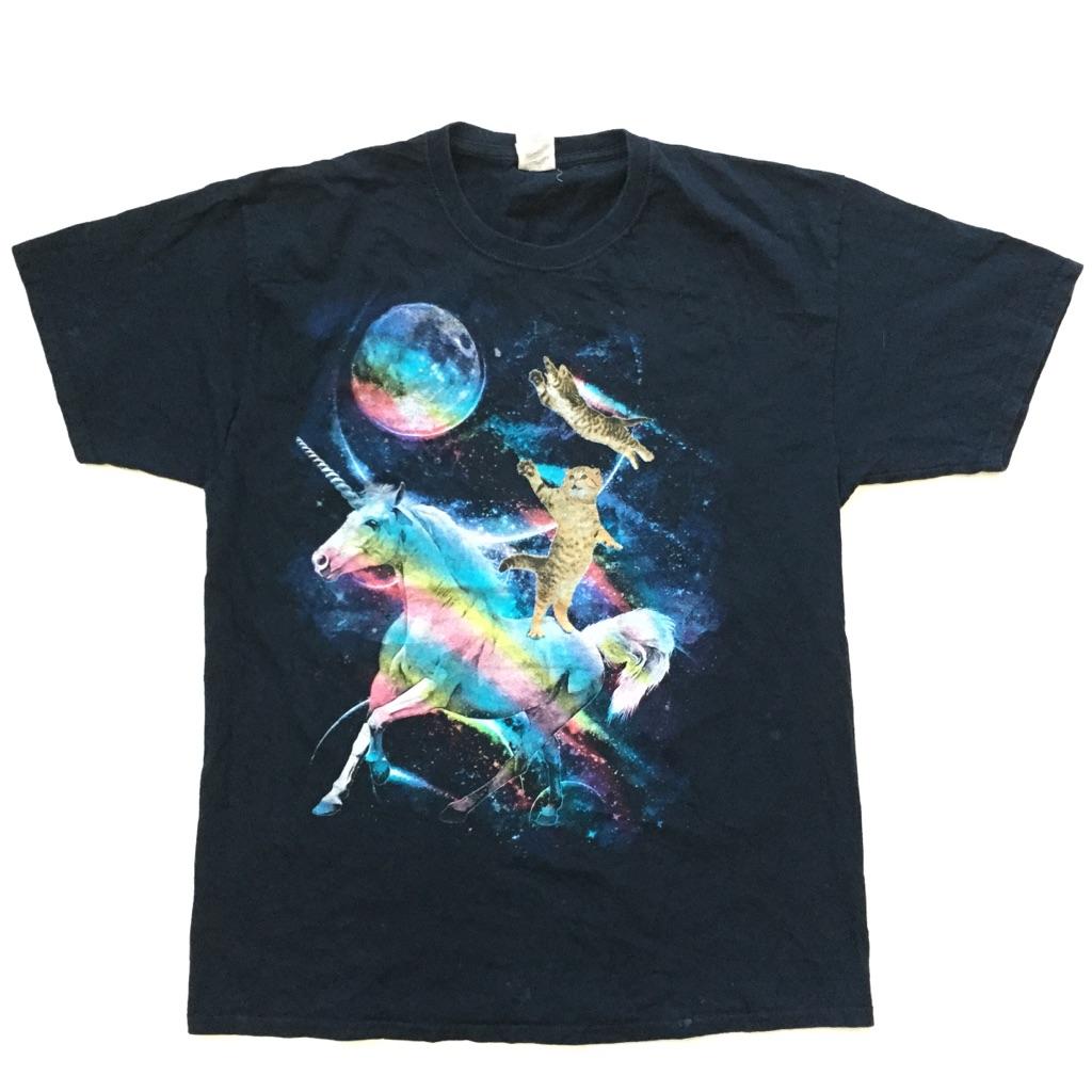 アメリカ古着 ユニコーン スペースキャット 送料無料 半袖Tシャツ メンズ L/黒・ブラック ネコ 宇宙 USA アメカジ ポップ 古着卸 業販 SF ファンタジー