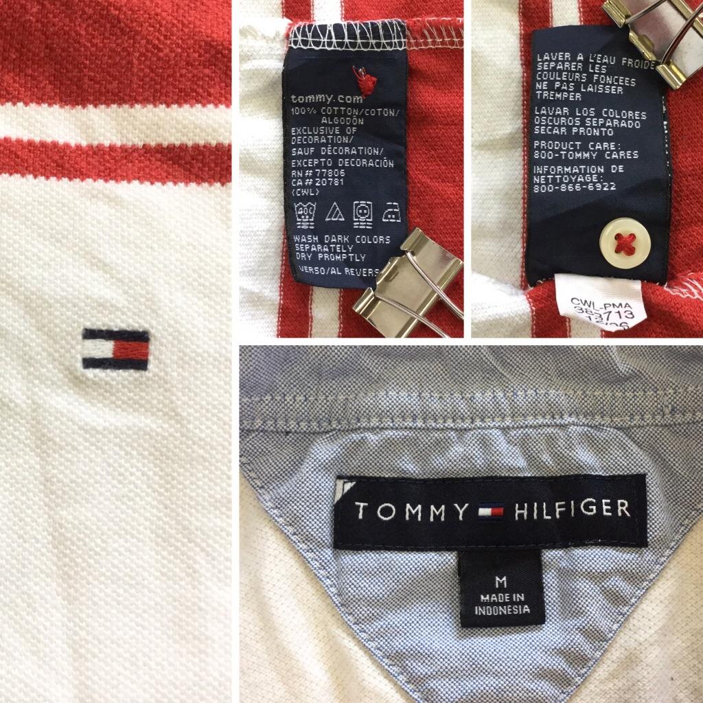 TOMMY HILFIGER トミーヒルフィガー 半袖ポロシャツ M/白x赤 ボーダー アメリカ直輸入 ブランド ゴルフ スポーツ アメカジ USA 鹿の子 送料無料 古着卸 業販