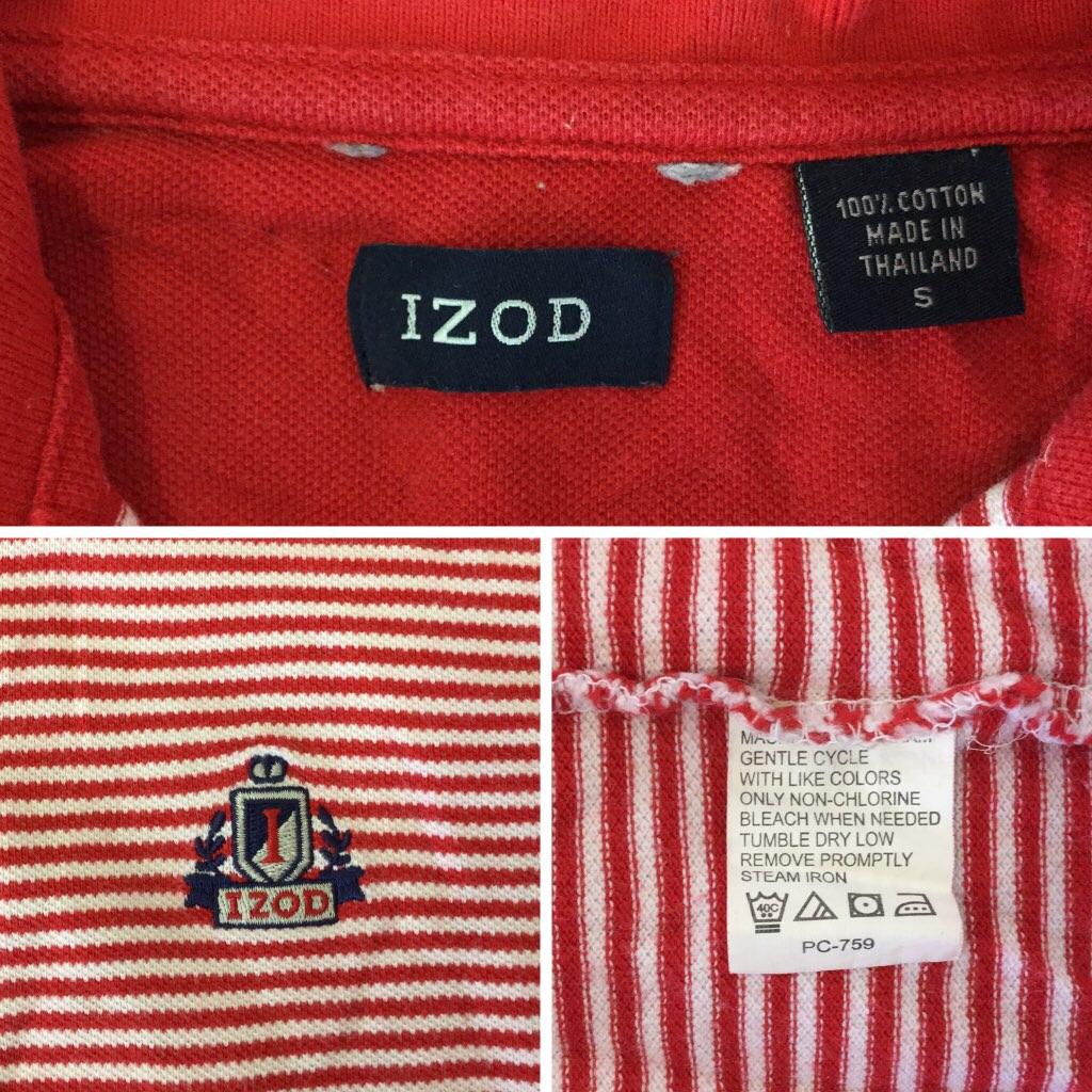 IZOD アイゾッド エンブレム ボーダー 半袖ポロシャツ 送料無料 S/白x赤 アメリカ直輸入 ゴルフ アメカジ USA古着