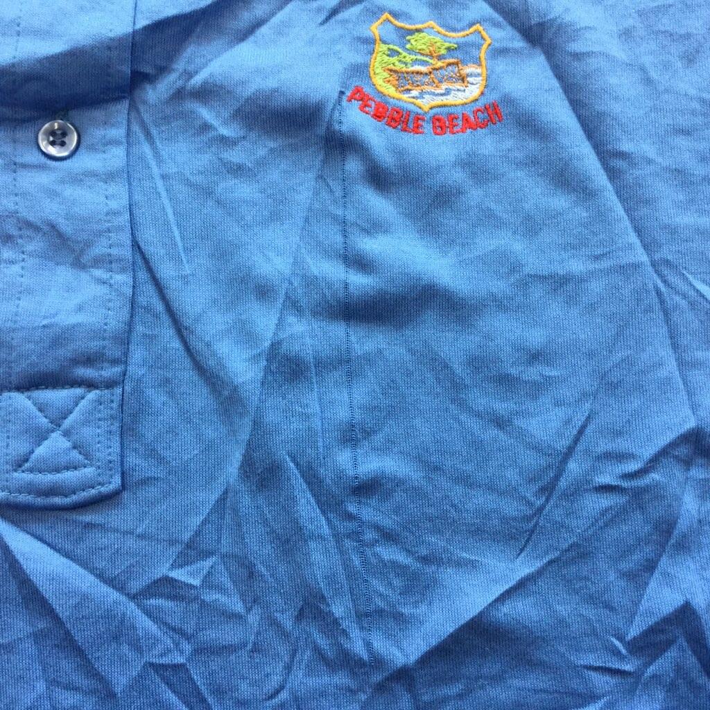 アメリカ直輸入 半袖ポロシャツ 送料無料 L/水色 MADE-IN-USA ポリシャツ レトロ US古着 PEBBLE-BEACH 胸ポケット ワンポイント