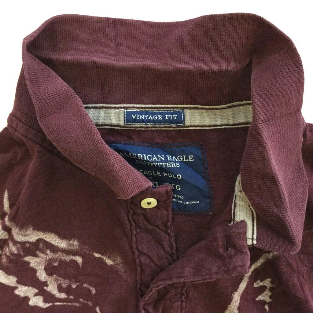 AMERICAN EAGLE アメリカンイーグル プリント 半袖ポロシャツ 送料無料 XXL/エンジ色 アメリカ直輸入 アウトフィッターズ アメカジ 2XL 大きい ビッグ USA AE