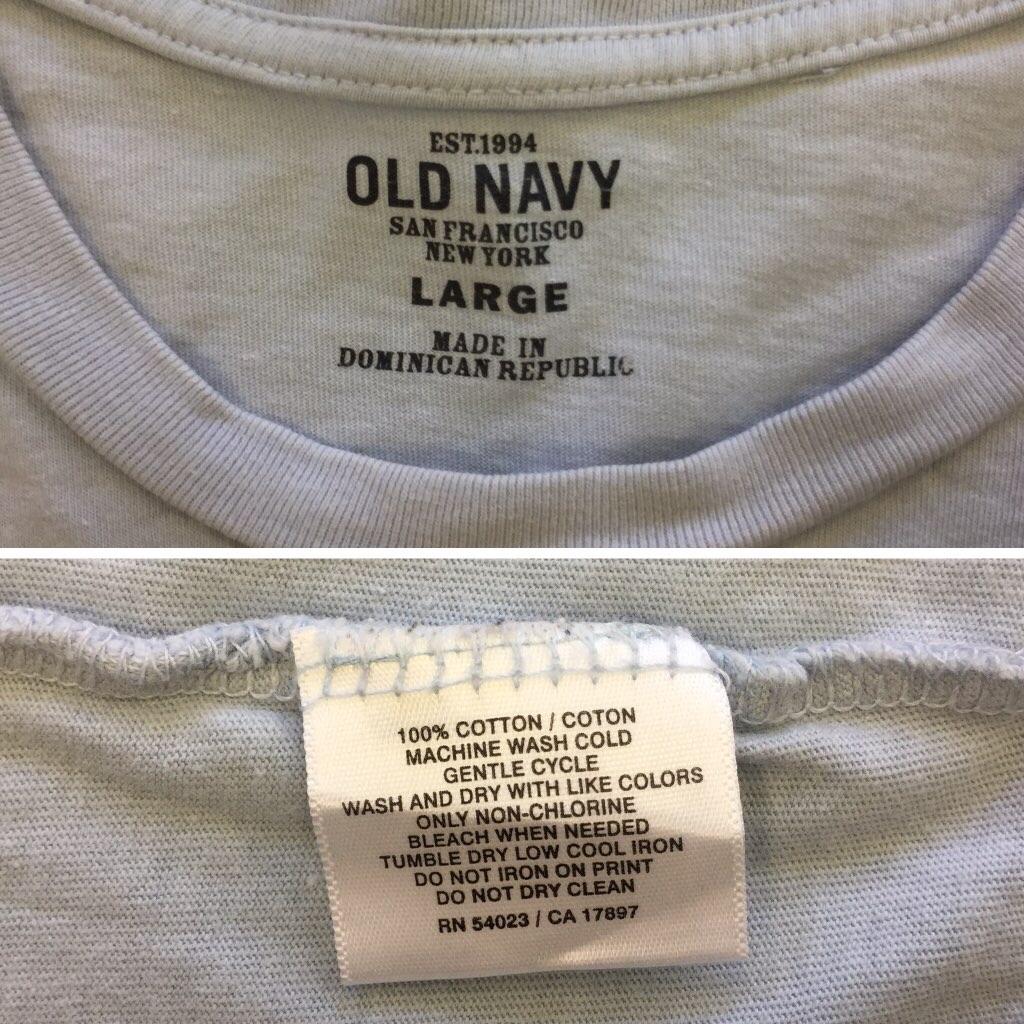 OLD NAVY オールドネイビー アメリカ輸入 ハイビスカス 半袖Tシャツ L/水色 送料無料 ポケットT ハワイ ライン USA アメカジ マリン ビーチ