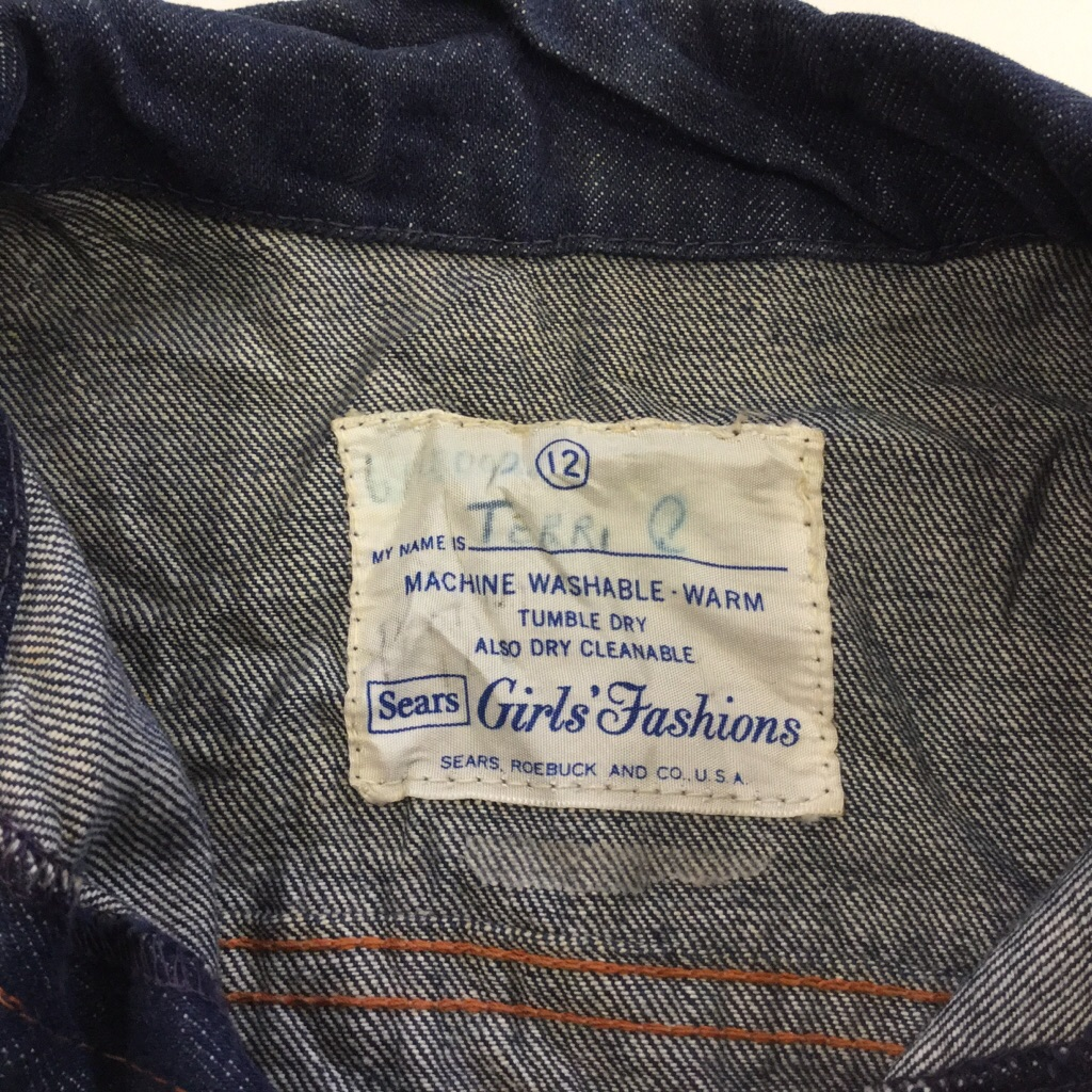 Sears シアーズ Girls' Fashions ガールズ Gジャン デニムジャケット カラーデニム キッズ 12/濃紺 カウボーイ ウエスタン ジージャン オールド ビンテージ アメリカ古着 輸入品 USA 送料無料
