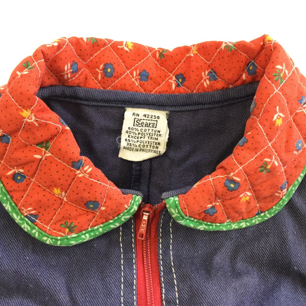Sears シアーズ キッズ つなぎ ジャンプスーツ デニムxキルト 花柄 オールド ビンテージ アメリカ古着 輸入品 USA 送料無料