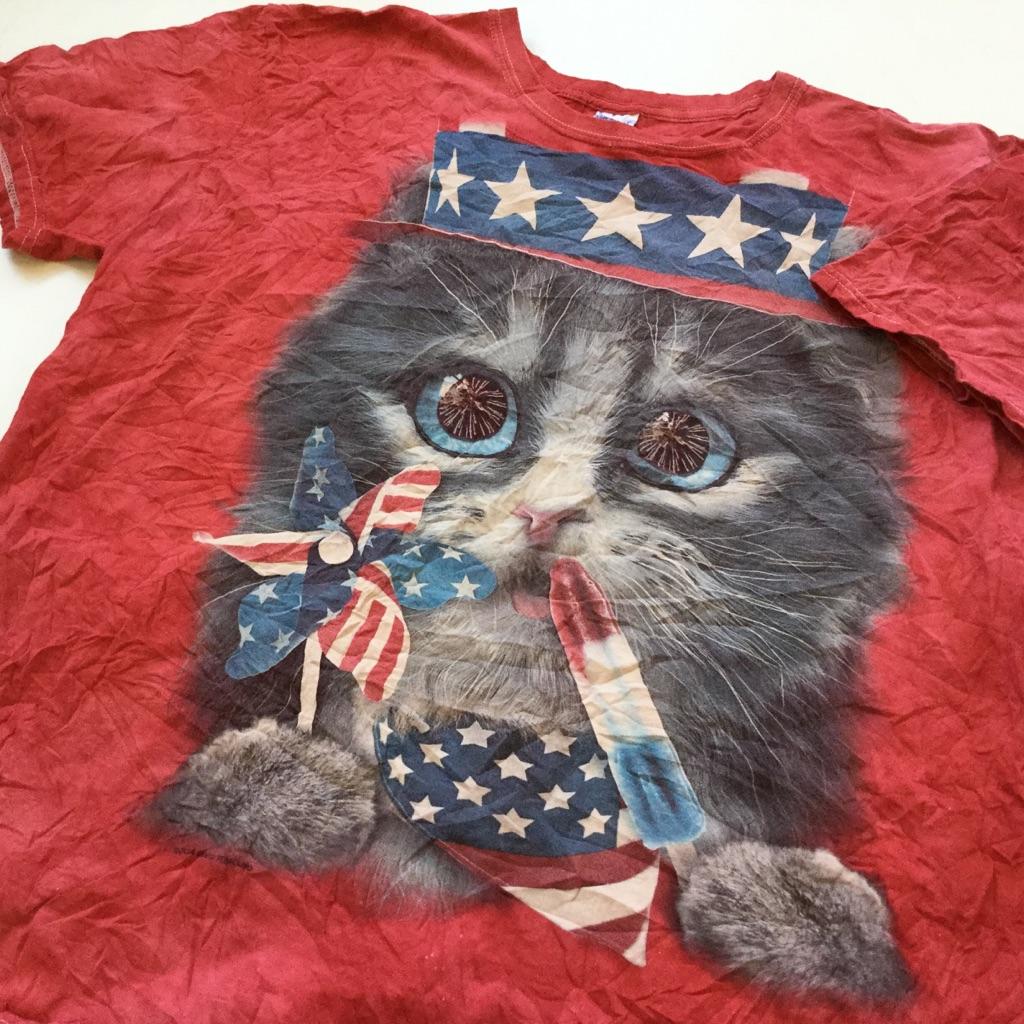アメリカ古着 ハッピーキャット 星条旗 送料無料 半袖Tシャツ メンズ XL/赤系x多色 猫プリント ムラ染め タイダイ USA アメカジ ポップ スター 風車 アイスキャンディー 古着卸 業販 大きい ビッグ オーバー