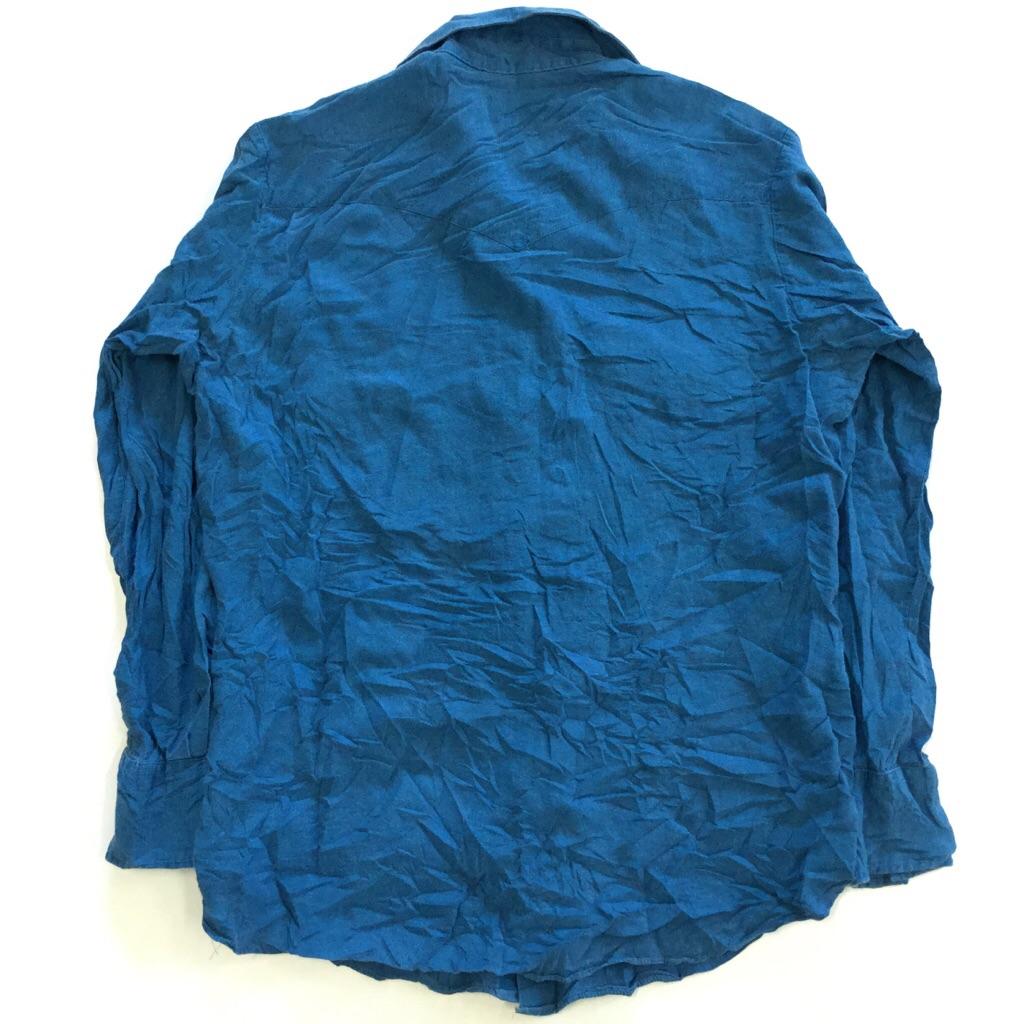 PRiOR ビンテージ 長袖ウエスタンシャツ カウボーイ アメリカ古着 メンズ 16-34/ブルー系 MADE IN USA カウボーイ ワーク アメカジ アメリカ 直輸入 古着御 業販