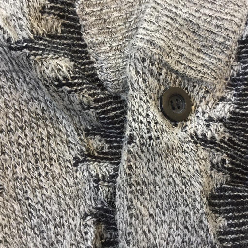 JED アメリカ古着 Vネックカーディガン 総柄セーター 送料無料 メンズ S/グレーx黒 柄物 アクリルニット モード カジュアル レトロ アメカジ USA 古着卸 業販