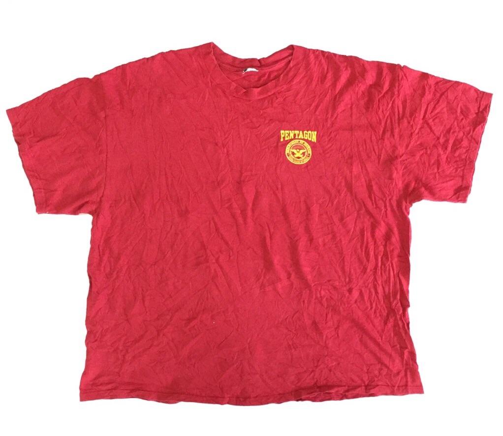 アメリカ古着 PENTAGON ペンタゴン 半袖Tシャツ 送料無料 メンズ 2X/赤・レッド アメリカ国防総省 輸入品 USA 古着卸 業販 大きい ビッグ オーバー