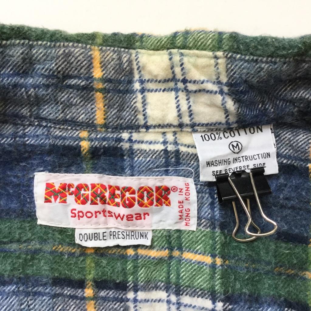 McGREGOR Sportswear マクレガー アメリカ直輸入 ライトネルシャツ フランネルシャツ 送料無料 メンズ M/青x緑x白x黄 チェック柄 プリントネル アメカジ ファーマーズ ワーク ブランド 定番 古着卸 業販