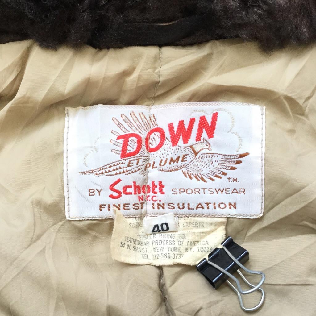 ビンテージ DOWN Schott ショット レザージャケット ダウンジャケット 送料無料 40/M/茶系 アメリカ直輸入 USA アメカジ ブランド ランチジャケット ボア バイカー 希少 レア 老舗 古着卸 業販