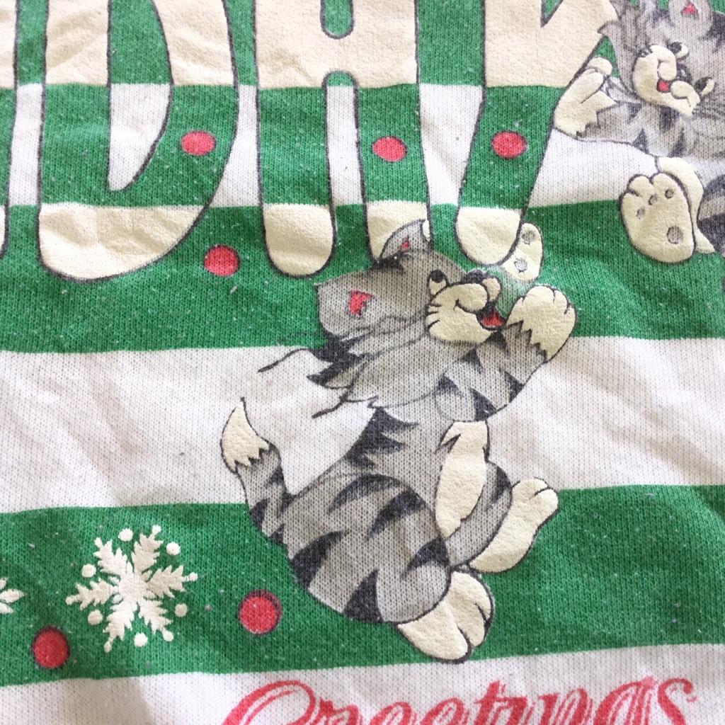 アメリカ古着 クリスマス スウェット トレーナー 送料無料 レディース L/白・ホワイト ボーダー 雪 スノークリスタル ネコ Holiday X'mas MADE IN U.S.A. アメカジ 古着卸 送料無料