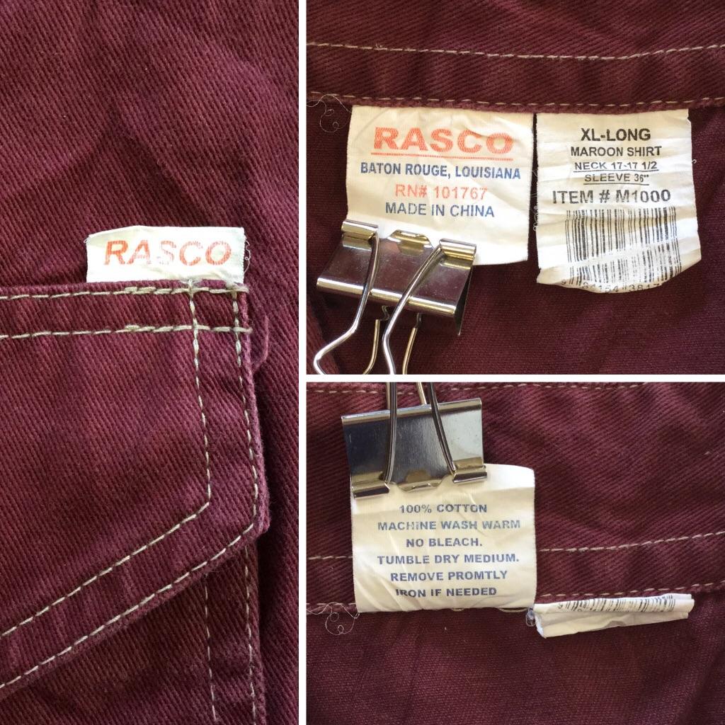RASCO アメリカ直輸入 コットンジャケット シャツジャケット メンズ XL/エンジ 送料無料 USA オールド ウエスタン カウボーイ ワーク アメカジ 古着御 業販 大きい ビッグ オーバー