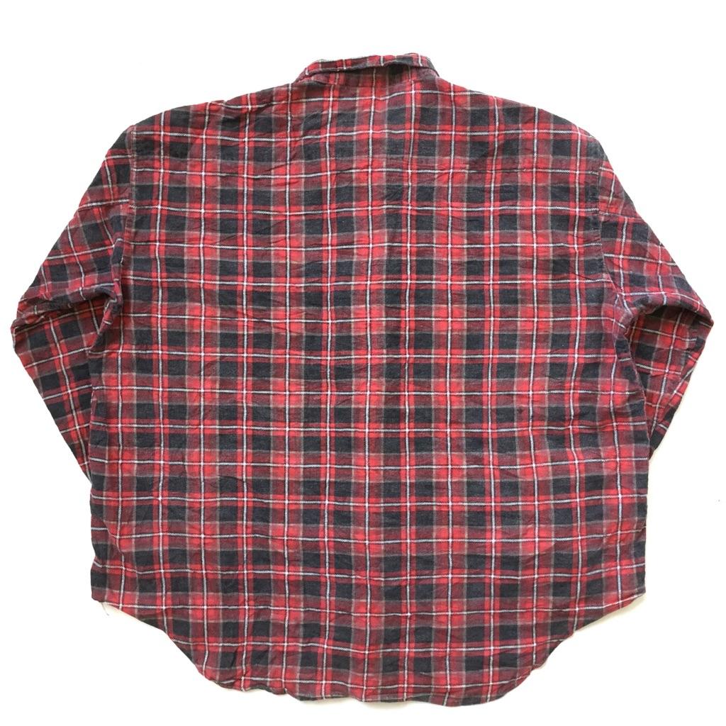 OSHKOSH オシュコシュ ビンテージ ライトネルシャツ フランネルシャツ 送料無料 メンズ XXL/赤x黒・チェック ヴィンテージ アメリカ直輸入 USA アメカジ ブランド プリントネル ワーク 古着卸 業販 大きい ビッグ オーバー