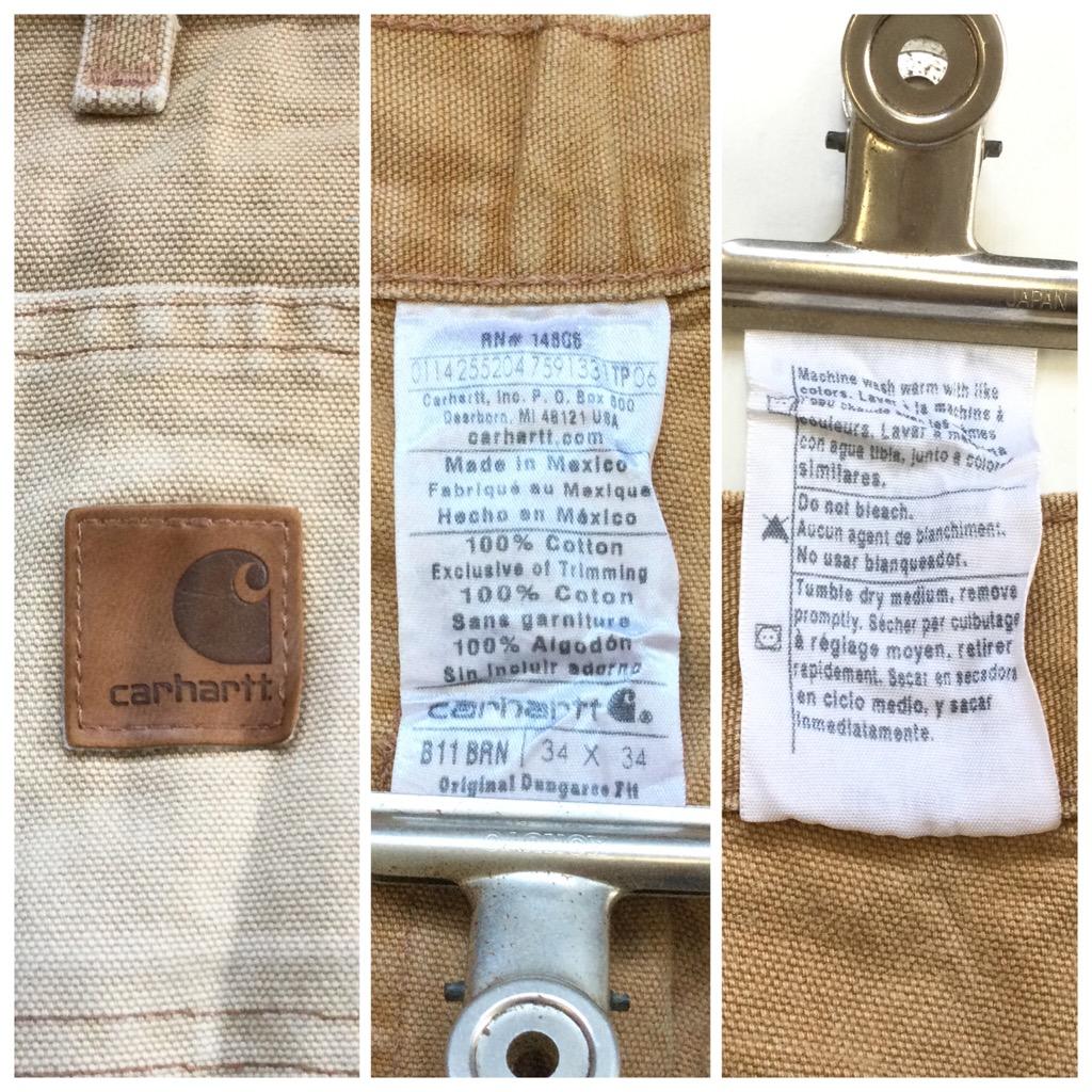 CARHARTT カーハート ダック地 ペインターパンツ ワークパンツ 送料無料 W34/濃いベージュ 帆布 ブランド アメカジ アメリカ直輸入 USA ロゴ 厚手 古着卸 業販