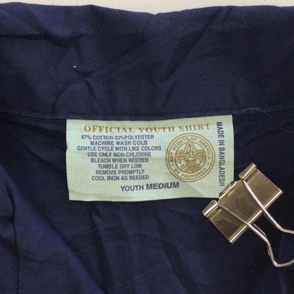 BOY SCOUTS ボーイスカウト 半袖シャツ ユニフォーム ユース M/紺・ネイビー 制服 アウトドア キャンプ ハイキング オールド アメリカ古着 輸入品 USA 送料無料