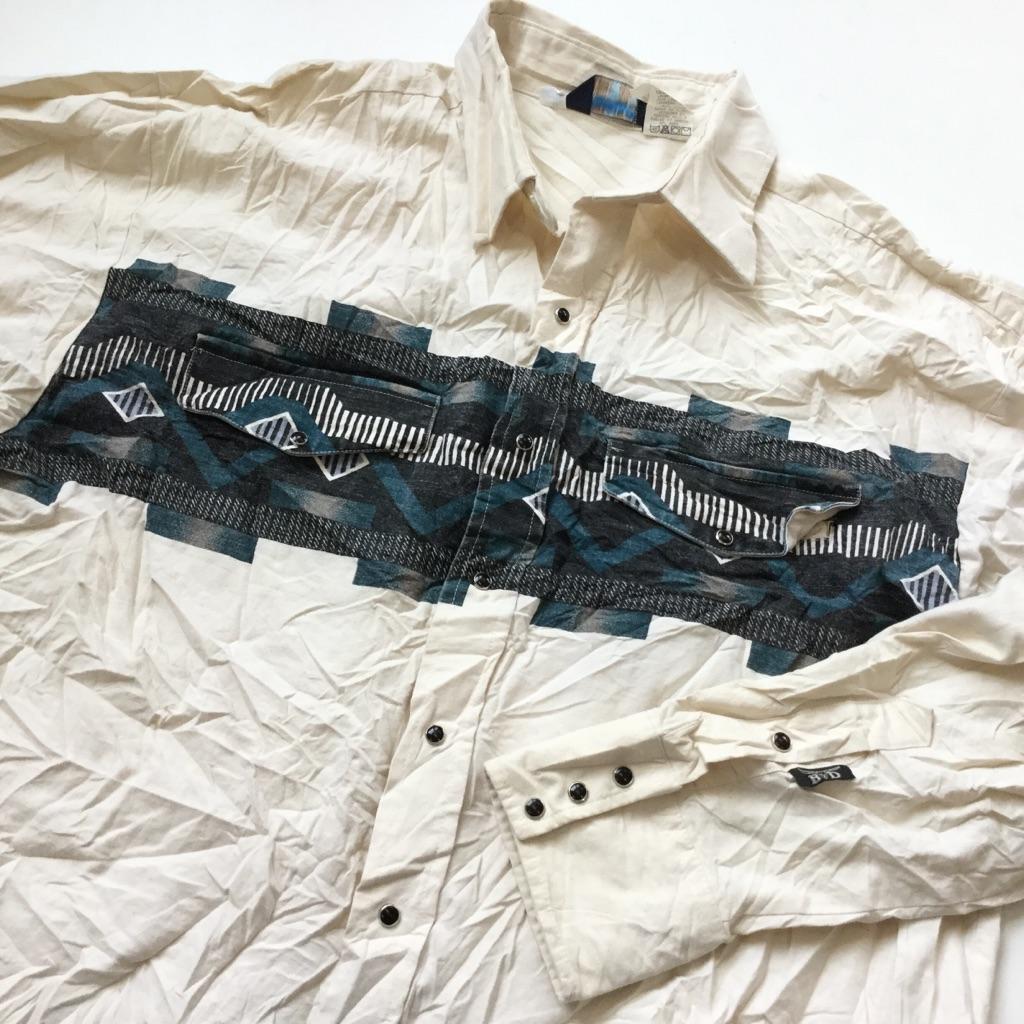 BROOKS & DUNN by Panhandle Slim 長袖ウエスタンシャツ カウボーイ アメリカ直輸入 メンズ XL/生成 ネイティヴ エスニック 民族 ワーク アメカジ 古着御 業販 大きい ビッグ オーバー
