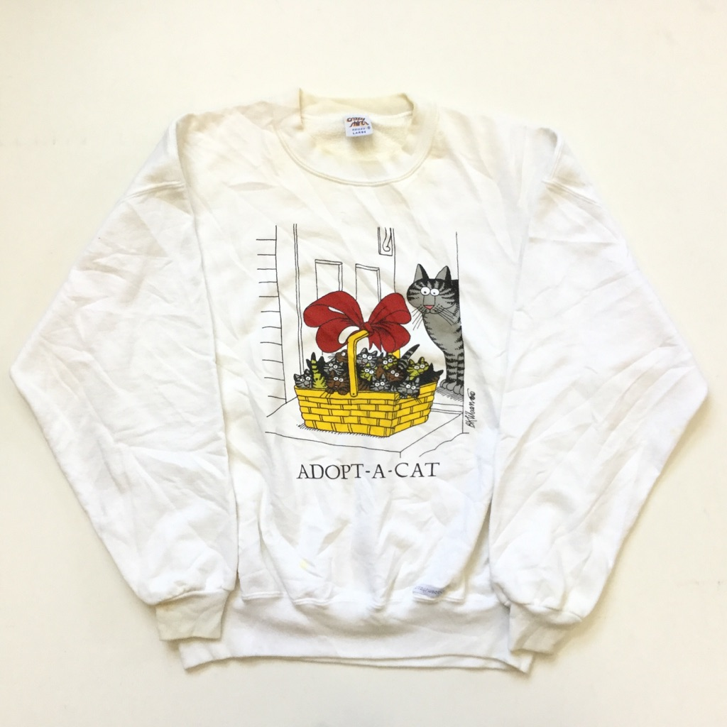 Crazy Shirts HAWAII クレイジーシャツ ハワイ クリバンキャット アメリカ直輸入 プリントスウェット トレーナー 送料無料 メンズ L/白・ホワイト オールド サーフ ブランド ネコ MADE IN USA アメカジ 古着卸 業販