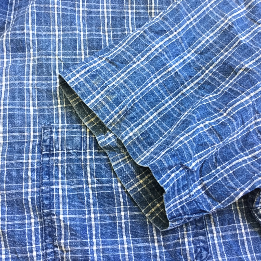 GAP ギャップ 半袖シャツ アメリカ直輸入 コットンシャツ 送料無料 メンズ XL/青系 チェック ワーク アメカジ ブランド アウトドア タウン 古着卸 業販 大きい ビッグ オーバー