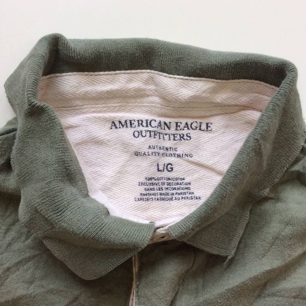 AMERICAN EAGLE アメリカンイーグル 半袖ラガーシャツ 送料無料 L/カーキ・イエロー アメリカ直輸入 アウトフィッターズ アメカジ ポロシャツ ラグビー ビンテージ加工 ロゴ