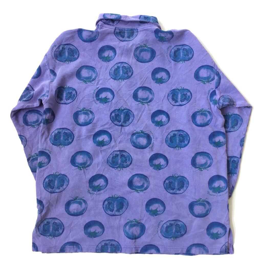 OVER THE MOON 長袖シャツ ポロシャツ スウェット 送料無料 メンズ S/紫・パープル トマト柄 USA アメカジ 総柄 野菜 アメリカ直輸入 古着卸 業販 AU ART UNLIMITED