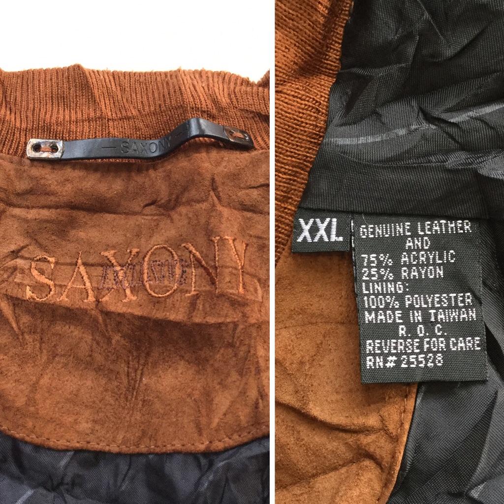 SAXONY レザーカーディガン アメリカ直輸入 レザーセーター 送料無料 メンズ XXL/茶・ブラウン Vネック カジュアル トラッド アメカジ ジャケット 古着卸 スウェード 本革 業販 大きい ビッグ オーバー