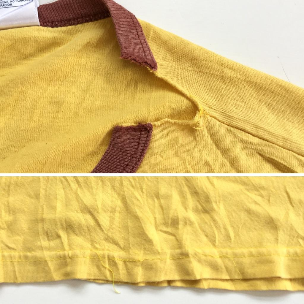 NESTLE'S QUIK ネスレ クイック アメリカ直輸入 半袖Tシャツ リンガーT 送料無料 メンズ M/黄色・イエロー バニー インスタントココア チョコレートフレーバー ドリンク うさぎ キャラクター USA アメカジ 古着卸 業販 Q