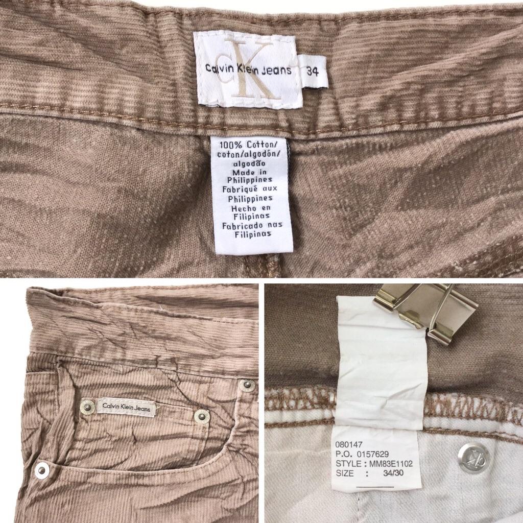CK Calvin Klein Jeans カルバンクラインジーンズ アメリカ直輸入 コーデュロイパンツ 送料無料 メンズ 34/薄茶・ベージュ系 ブランド USA アメカジ カジュアル トラッド コード コーズ 綿パン コットンパンツ 古着卸 業販