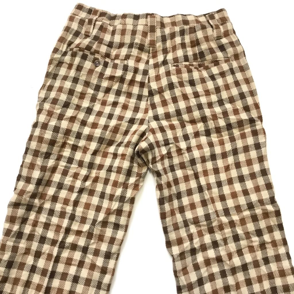HAGGAR slacks アメリカ古着 チェックパンツ スラックス スーツパンツ 送料無料 メンズ W70/茶系・チェック柄 アメカジ オールド トラッド モード TALONjipper 業販 古着卸