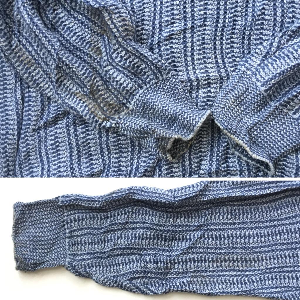JANTZEN ジャンセン Vネックセーター アメリカ直輸入 コットンニット 送料無料 メンズ XL/ブルー系 MADE IN USA アメカジ トラッド 古着卸 業販 米国製 大きい ビッグ オーバー
