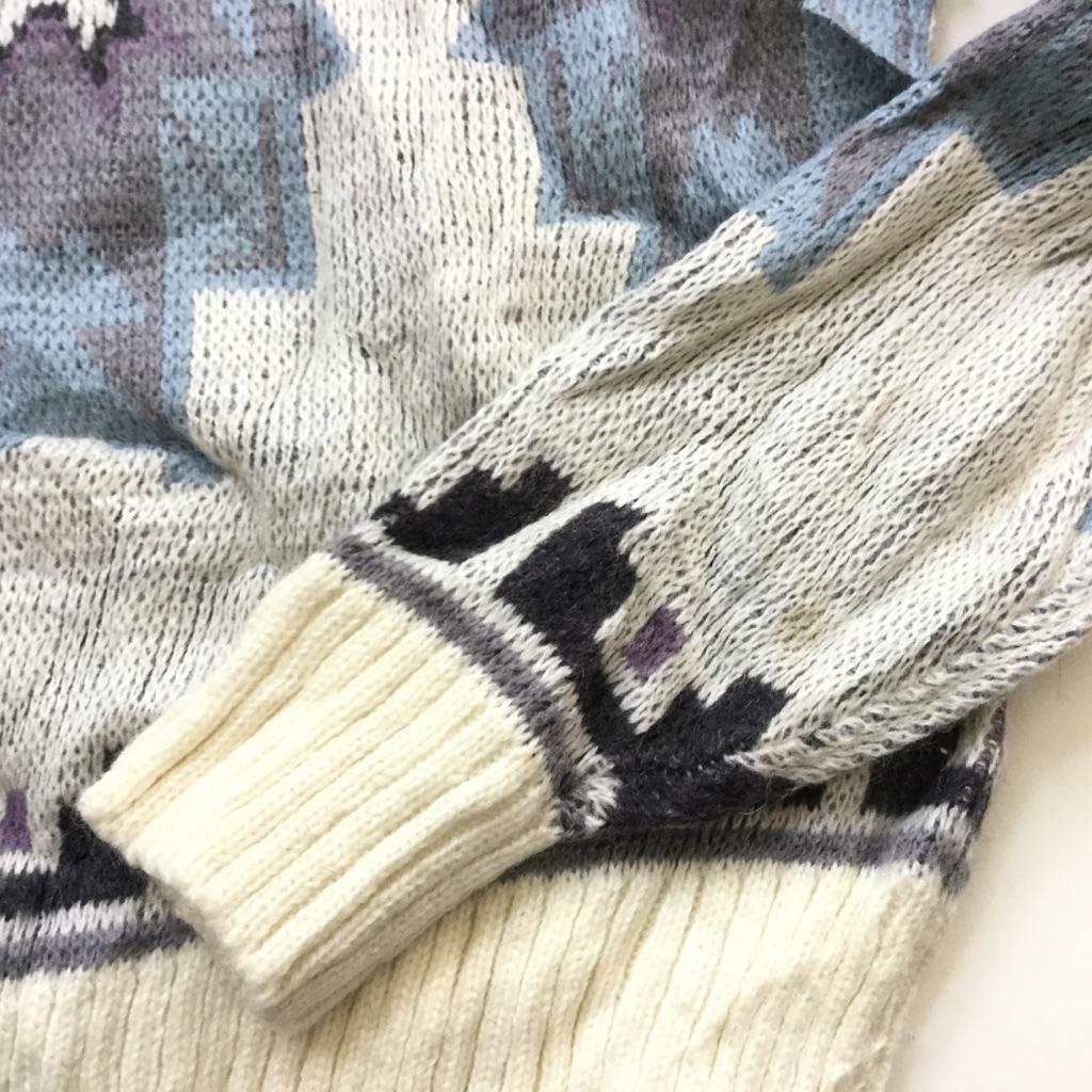 NUOVO INDUSTRIALE アメリカ直輸入 セーター 送料無料 メンズ S/グレー系 総柄 USA トラッド クルーネック アメカジ アクリル ウール ニット オールドアメリカン 古着卸 業販 ネイティブ 幾何学