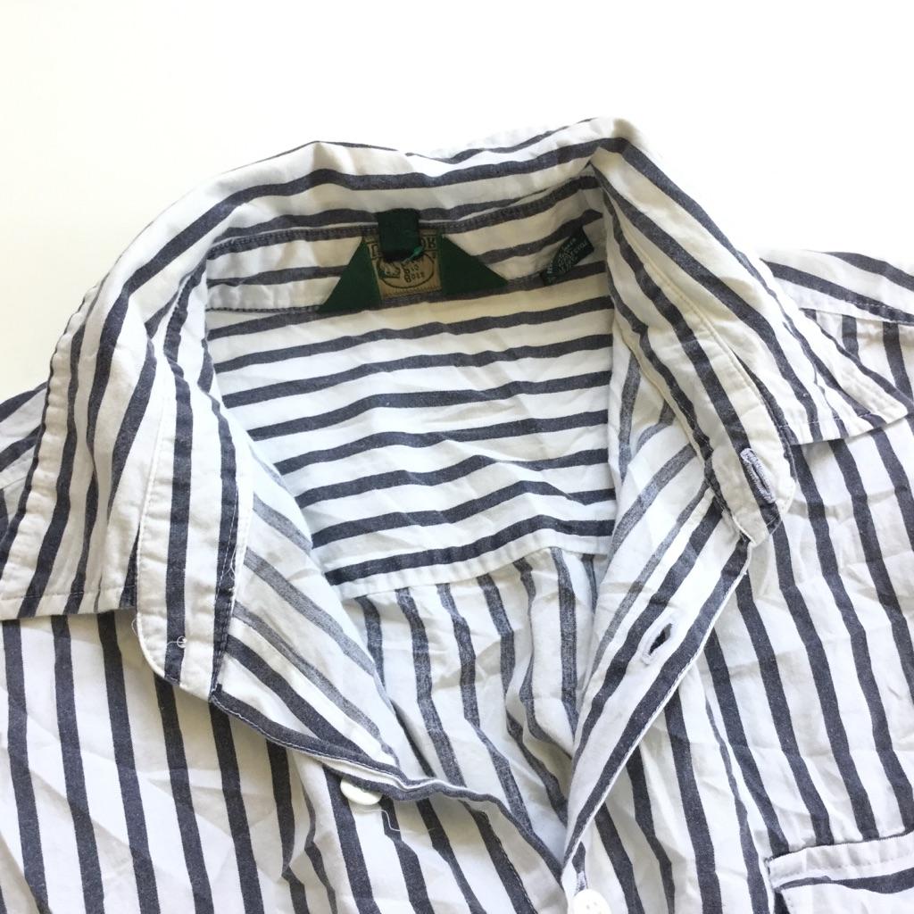 Bass Pro shops OUTDOORS ストライプシャツ アメリカ古着 半袖シャツ 送料無料 メンズ XL/白x黒 モノトーン 綿シャツ コットン 輸入品 古着御 業販 大きい ビッグ オーバー ユニセックス
