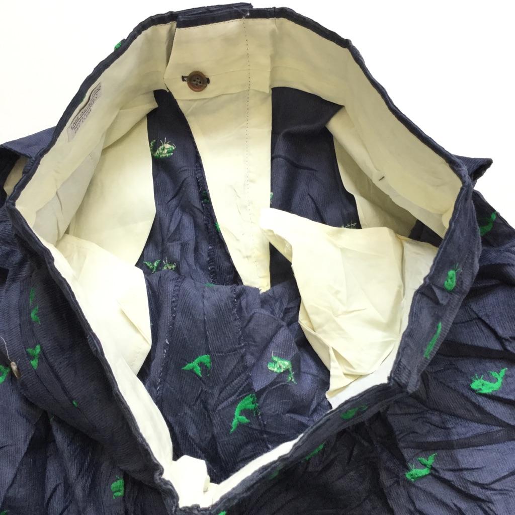ビンテージ クジラ刺繍 コーデュロイパンツ アメリカ直輸入 スーツパンツ スラックス 送料無料 メンズ  W94/紺・ネイビー 緑鯨 コーズ コール天 アメカジ トラッド 古着卸 業販 大きい ビッグ オーバー
