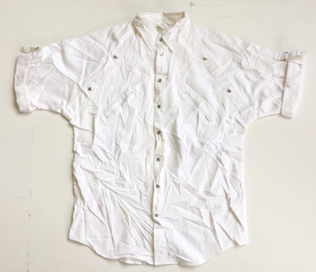 Jacques Lorant アメリカ直輸入 デザインシャツ 七分袖シャツ 送料無料 39-40/L/白・ホワイト 無地 ラグランスリーブ トラッド モード ヨーロッパ カジュアル 古着卸 業販 メンズ  レディース ユニセックス