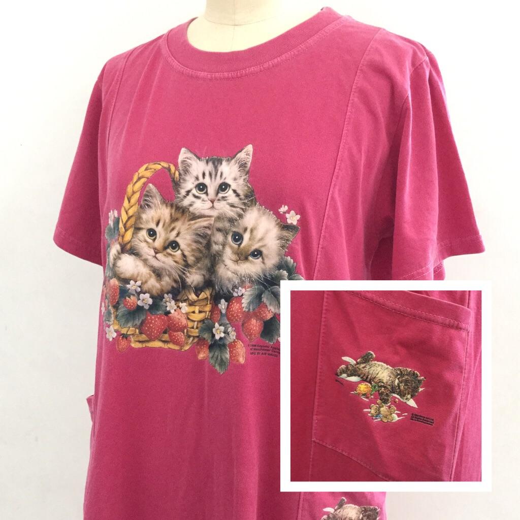 国内古着 猫 苺 半袖ワンピース ビッグTシャツ レディース S-M/ピンク ルームウェア リラックス ドレス 古着卸 送料無料