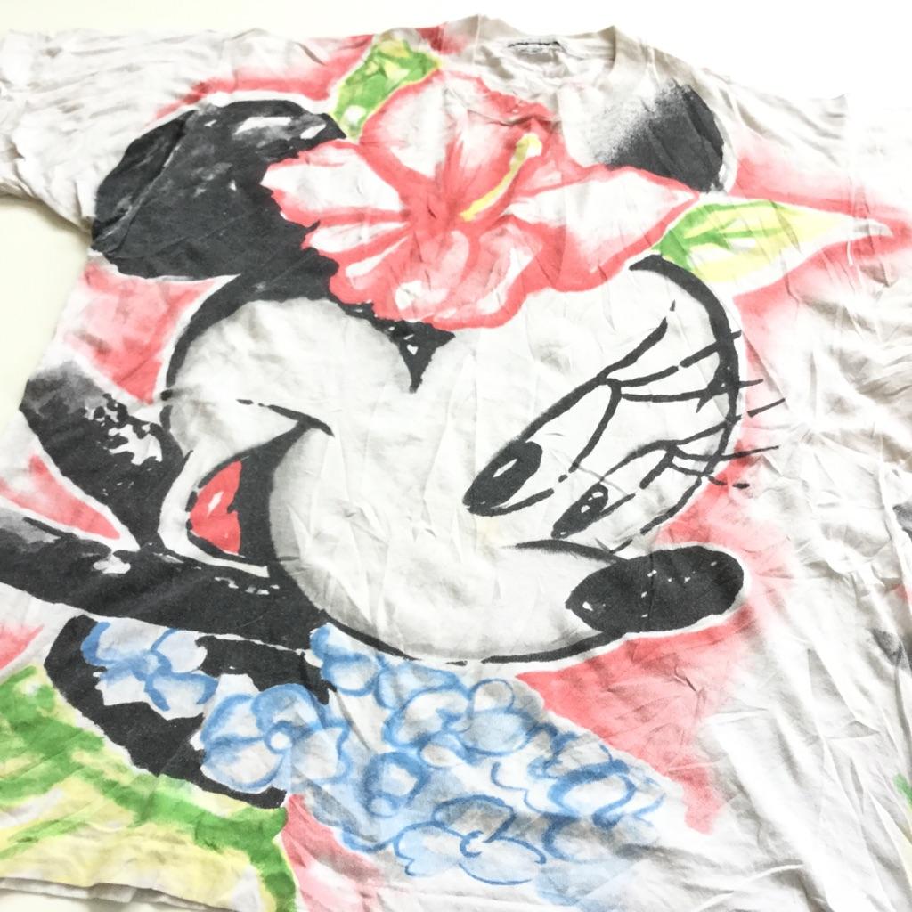MINNIE ミニーちゃん アメリカ直輸入 プリント半袖Tシャツ フラガール 送料無料 レディース L-XL/白・ホワイト ミッキー ディズニー ハイビスカス USA キャラ 古着卸 業販 メンズ  ユニセックス 大きい ビッグ オーバー