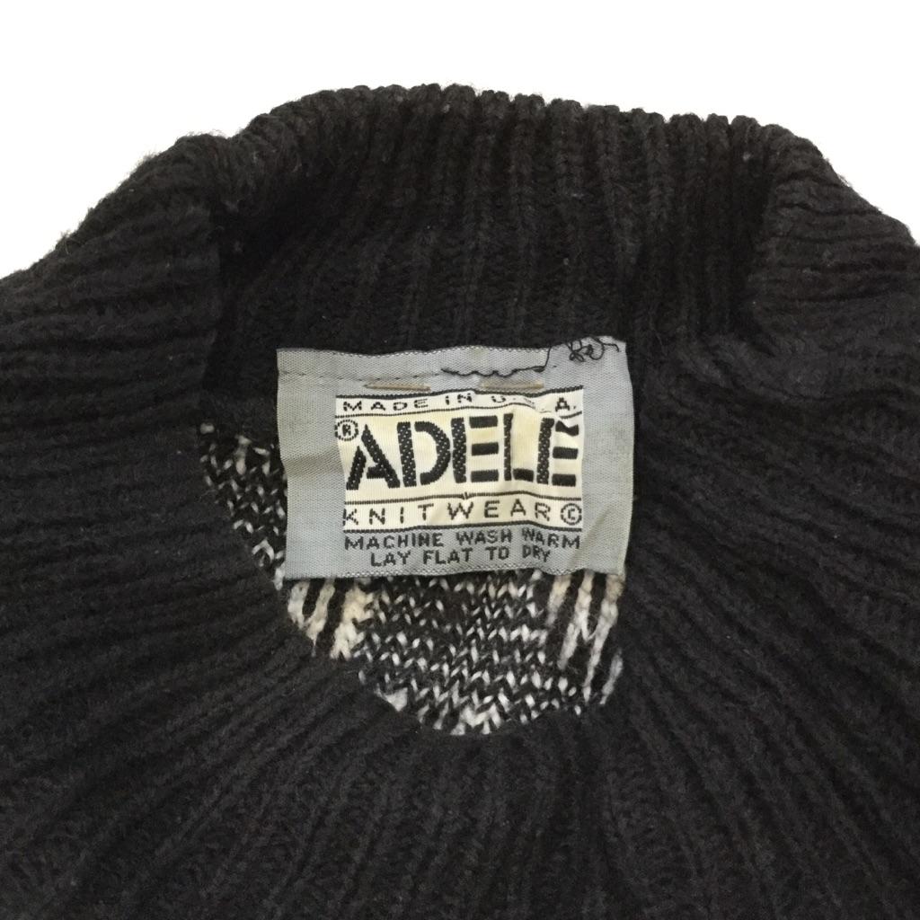 ADELE KNIT WEAR アメリカ直輸入 総柄セーター アクリルニット 送料無料 レディース L程度/黒x白 モノトーン 柄物 ボタニカル モックネック ハイネック MADE IN USA 古着卸 業販
