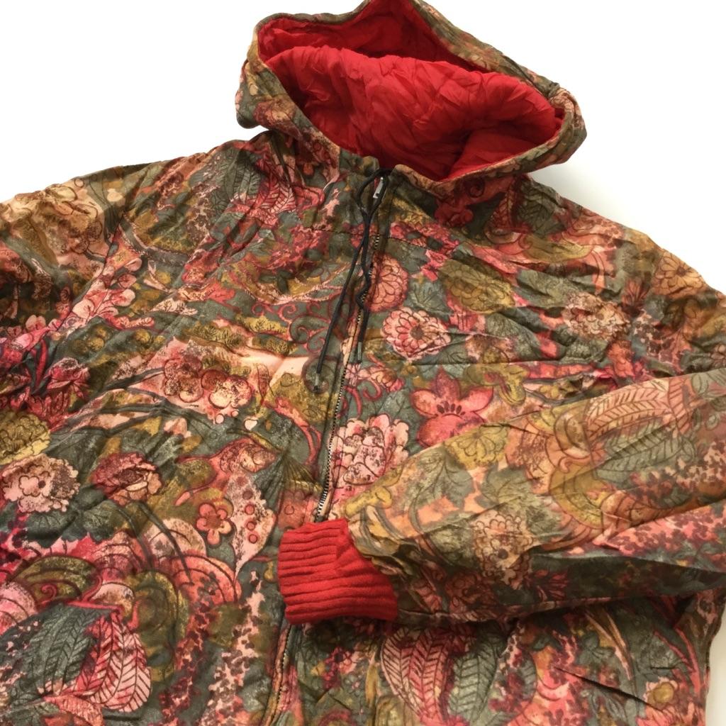 ビンテージ リバーシブルジャケット アメリカ直輸入 総柄ジャケット ジップアップパーカー 送料無料 レディース S-M/多色・赤 花柄xキルティング ジャンパー カジュアル アメカジ USA UNION MADE ヴィンテージ 古着卸 業販 CONMAR JIPPER