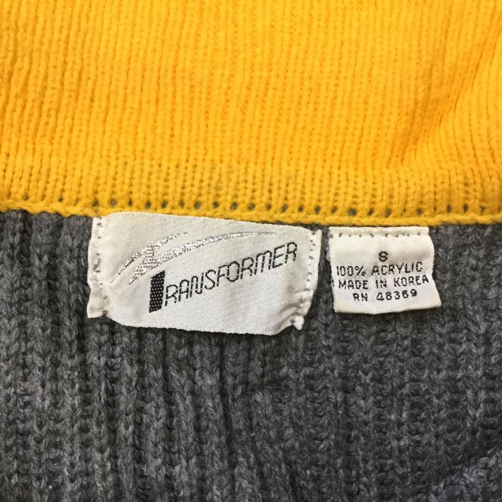 TRANSFORMER アメリカ古着 ボーダーセーター アクリルニット 送料無料 メンズ S/グレーx黄 襟付き ハーフジップ ストライプ カジュアル スポーツ USA 古着卸 業販