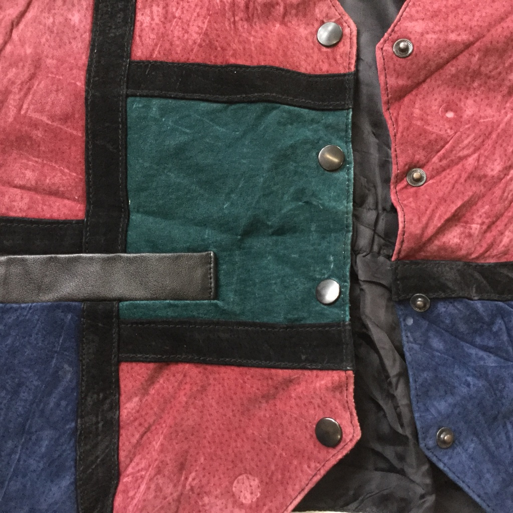 LEARSI アメリカ直輸入 レザーベスト スーツベスト 送料無料 レディースM/紺x緑x小豆x黒 パッチワーク スエード カジュアル 本革 USA 古着卸 業販 スウェード