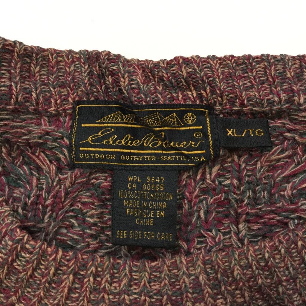 Eddie Bauer エディバウアー 黒タグ ビンテージセーター アメリカ直輸入 コットンニット 送料無料 メンズ XL/エンジ系 ミックス ケーブル 模様編み 無地 アウトドア トラッド アメカジ USA 古着卸 業販 ヴィンテージ オールド 大きい ビッグ オーバー