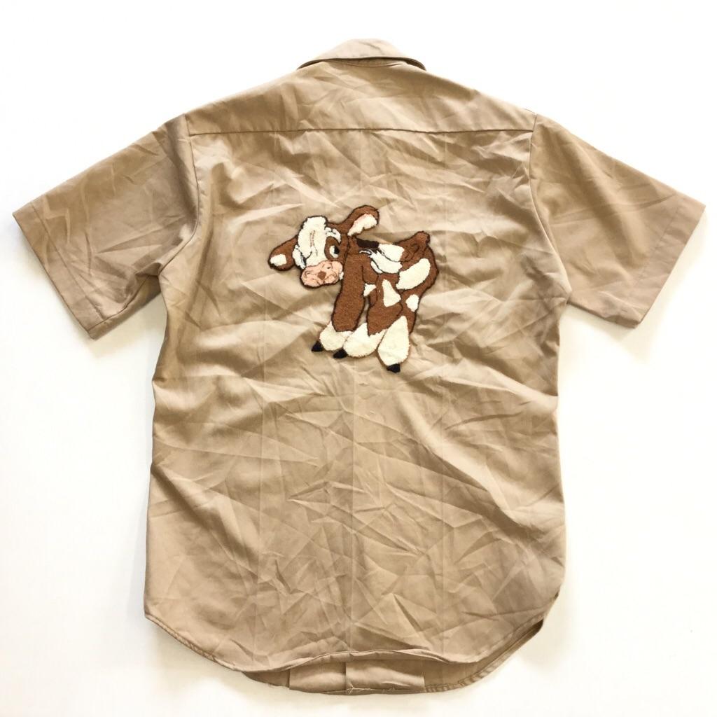 米軍 半袖シャツ リメイク 送料無料 メンズ S/ベージュ 刺繍 星 仔牛 アメリカ直輸入 USA ミリタリー ARMY ワークシャツ オープンカラー 古着卸 業販