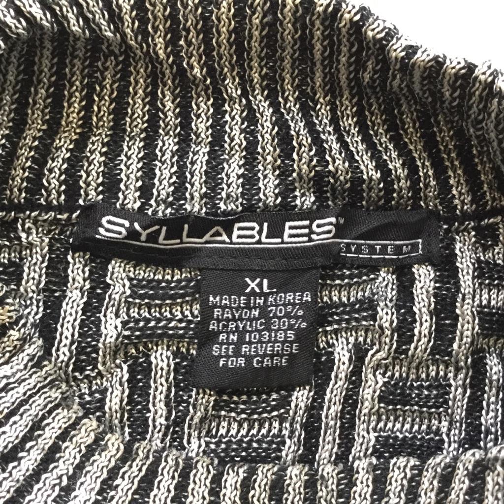 SYLLABLES モックネックセーター アメリカ古着 ハイネック 送料無料 メンズ XL/黒x銀 立体編み 3D レーヨン混ニット モード トラッド カジュアル アメカジ USA 古着卸 業販 大きい ビッグ オーバー