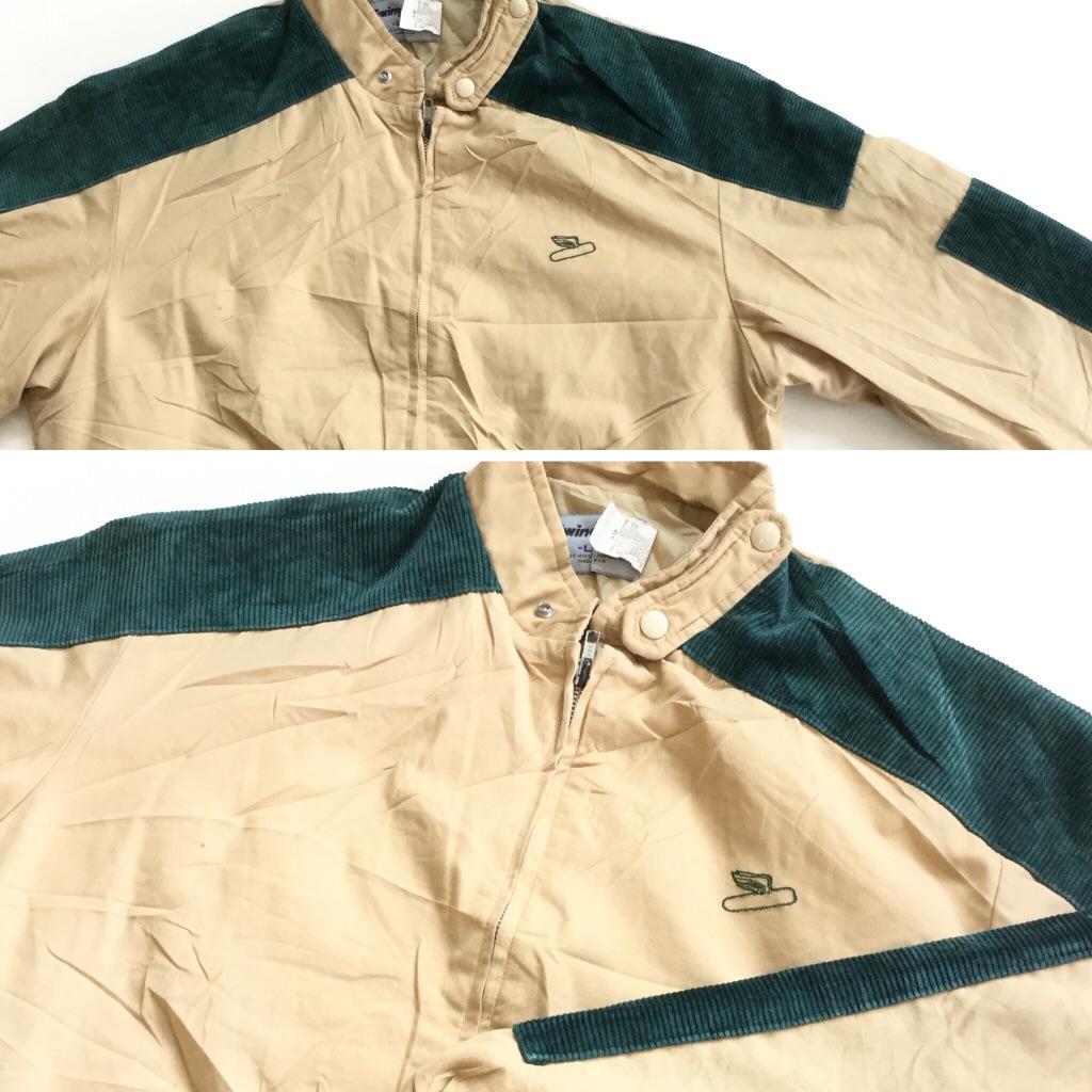 Swingster アメリカ直輸入 中綿ジャケット 送料無料 メンズ L/ベージュ コーデュロイ キルティングライナー ジップアップ フルジップ アメカジ MADE IN USA 古着卸 業販 ウィング 刺繍 ワンポイント