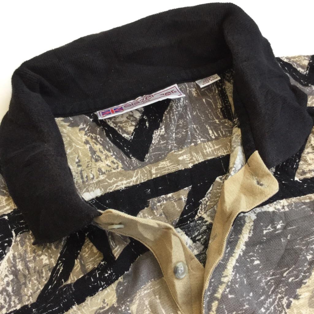 Slazenger 総柄 半袖ポロシャツ 送料無料 メンズ XXL/ブラックxベージュxグレー USA アメカジ スポーツ アメリカ直輸入 古着卸 業販 大きい ビッグ オーバー