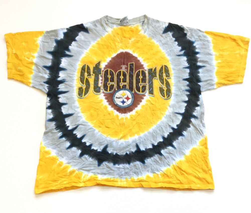 Steelers スティーラーズ ピッツバーグ NFL アメフト 半袖タイダイTシャツ 送料無料 XXL/イエローxブラック xグレー アメリカ直輸入 USA スポーツ アメカジ オーバー 大きい ビッグ
