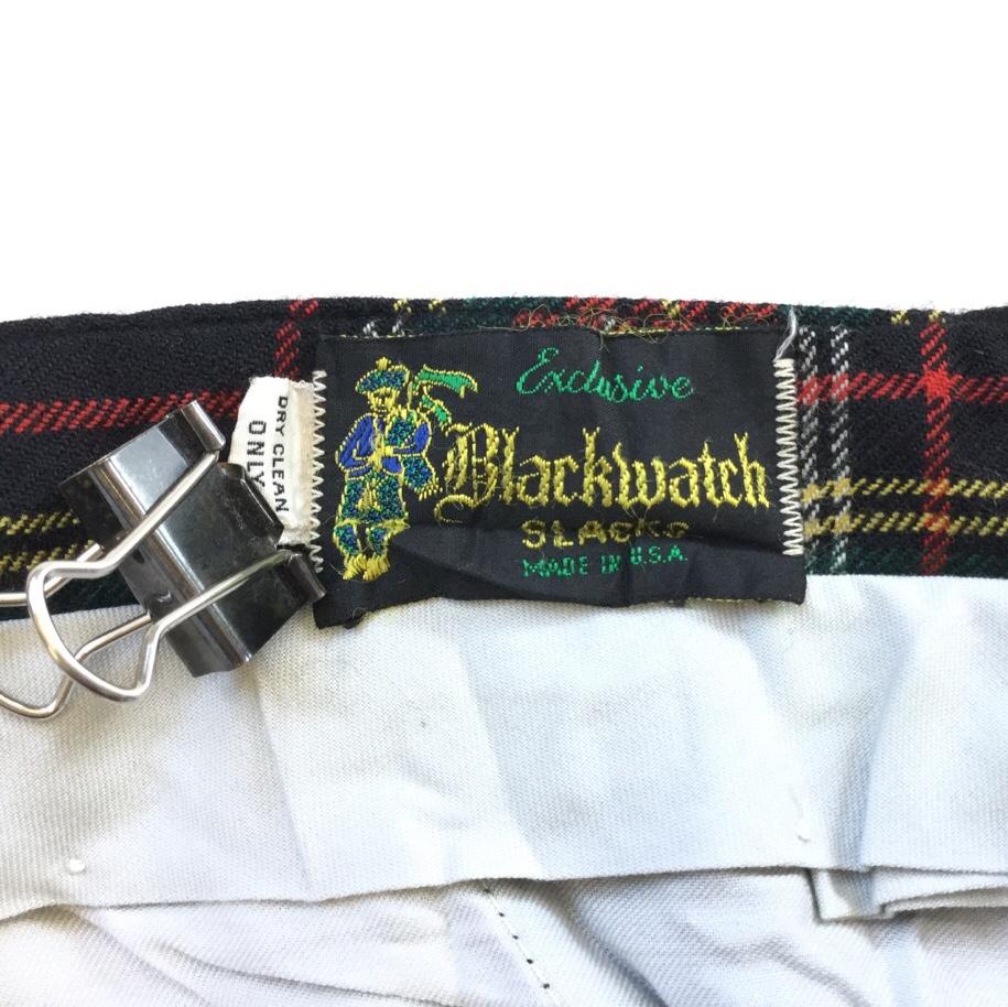 Blackwatch SLACKS ウールパンツ アメリカ古着 チェックパンツ スラックス スーツパンツ 送料無料 メンズ W84/赤x緑x黒系 タータンチェック柄 アメカジ オールド MADE IN  USA トラッド モード TALONジッパー 業販 古着卸