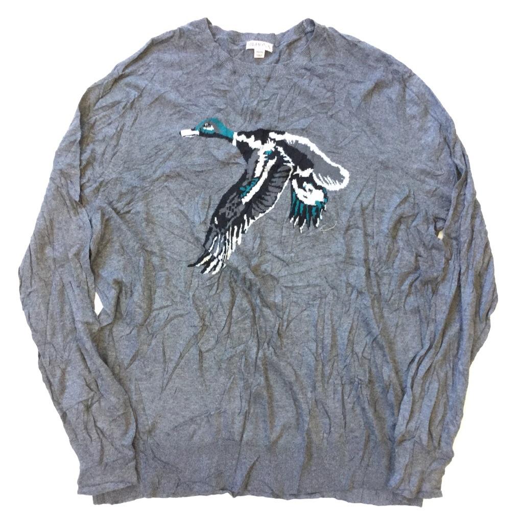MERONA アメリカ直輸入 鴨柄セーター クルーネックセーター 薄手ニット 送料無料 メンズ XXL/グレー 模様編み カジュアル アウトドア 古着卸 業販 大きい ビッグ オーバー