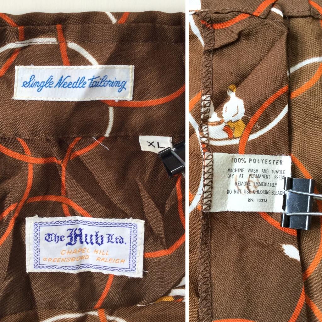 The Hub Ltd. オールド 長袖ポリシャツ アメリカ直輸入 ビンテージ 送料無料 メンズ XL/茶系・総柄 乗馬プリント 馬 柄シャツ リング サークル ヴィンテージ アメカジ USA 古着卸 業販 大きい ビッグ オーバー